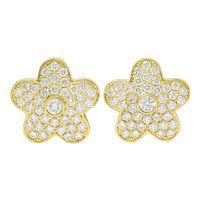 Vintage 3.32 CTW Pave Diamond 18 Karat Gold Flower Stud Earrings