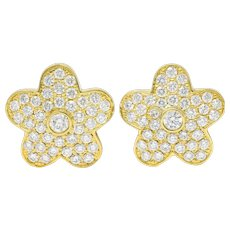 Vintage 3.32 CTW Pave Diamond 18 Karat Gold Flower Stud Earrings
