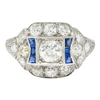 Art Deco Sapphire 1.58 CTW Diamond Platinum Dinner Ring