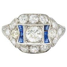 Art Deco Sapphire 1.58 CTW Diamond Platinum Dinner Ring