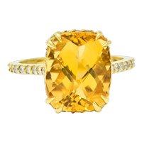 Sunny Citrine Diamond 18 Karat Gold Gemstone Cocktail Ring