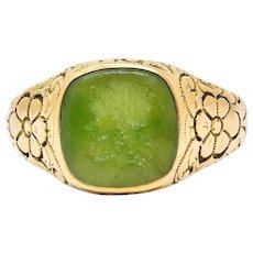 Art Nouveau Nephrite Intaglio 14 Karat Gold Zeus Signet Ring