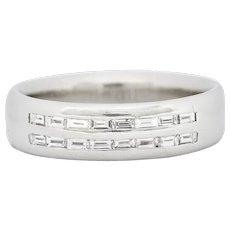 1950's Mid-Century 0.80 CTW Diamond Platinum Men's Band Ring