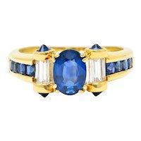 Innovative Sapphire Diamond 18 Karat Gold Gemstone Ring