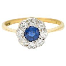 Edwardian 0.73 CTW Sapphire Diamond Platinum-Topped 19 Karat Gold Cluster Ring