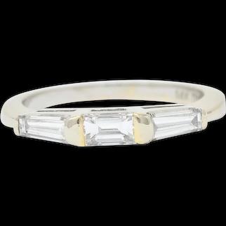 1950's Mid-Century 0.75 CTW Baguette Diamond 14 Karat White Gold Band Ring