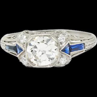 Art Deco Sapphire 1.10 CTW Diamond Platinum Arrow Engagement Ring