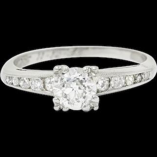 1936 Art Deco 1.12 CTW Old European Diamond Platinum Engagement Ring