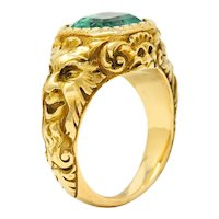 Art Nouveau Emerald 18 Karat Gold Green Man Signet Ring