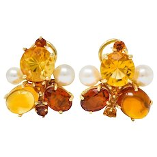 Vintage Citrine Cultured Pearl 14 Karat Gold Cluster Earrings