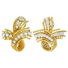 1950's Mid-Century 1.45 CTW Diamond 18 Karat Two-Tone Gold Twisted Rope Ear-Clip Earrings
