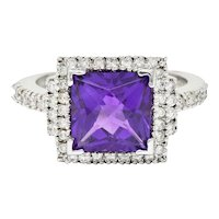 Saturated Amethyst Diamond 18 Karat White Gold Square Halo Ring