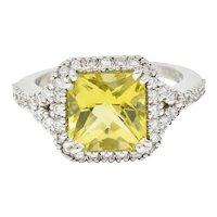 Green Beryl Diamond 18 Karat White Gold Square Halo Gemstone Ring