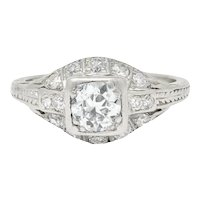 Art Deco 0.75 CTW Diamond Platinum Engagement Ring Circa 1930