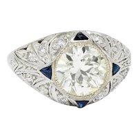 Art Deco 2.06 CTW Diamond Sapphire Platinum Engagement Ring GIA