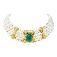 Giovanè Italian 41.50 CTW Emerald Diamond Pearl 18 Karat Gold Collar Necklace