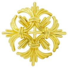 Large 1970's Tiffany & Co. Vintage 18 Karat Gold Maltese Cross Brooch