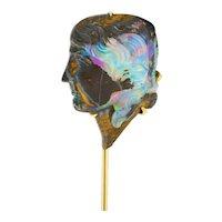 Art Nouveau Boulder Opal 14 Karat Gold Hellenistic Cameo Stickpin