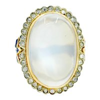 Edwardian Moonstone Diamond Sapphire 14 Karat Two-Tone Gold Cabochon Cluster Ring