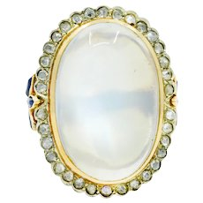 Edwardian Moonstone Diamond Sapphire 14 Karat Two-Tone Gold Cabochon Cluster Ring