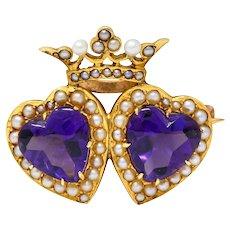 Krementz Amethyst Freshwater Natural Pearl 14 Karat Gold Double Heart Brooch