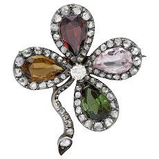 1880's Victorian Multi-Gem Diamond Silver-Topped 18 Karat Gold Clover Brooch