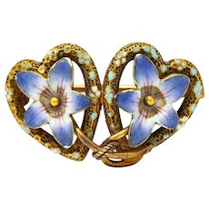 Krementz Art Nouveau Enamel 14 Karat Gold Double Floral Heart Brooch