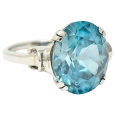 Retro Blue Zircon 14 Karat White Gold Gemstone Ring