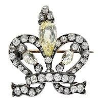 Tiffany & Co. Victorian 5.47 CTW Fancy Yellow Briolette Diamond & White Diamond 18 Karat Gold Silver Crown Brooch GIA