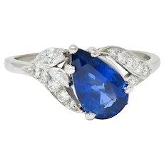 1960's Vintage 3.35 CTW Sapphire Diamond Platinum Bypass Ring