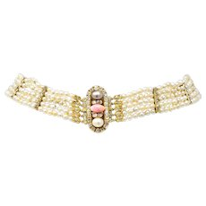 Victorian 8.35 CTW Diamond Natural Pink Conch Saltwater Pearl 18 Karat Gold Strand Necklace