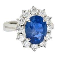 Classic 8.38 CTW No Heat Ceylon Sapphire Diamond Platinum Cluster Ring GIA AGL