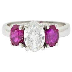 1950's Mid-Century 2.13 CTW Diamond Ruby Platinum Three Stone Ring GIA