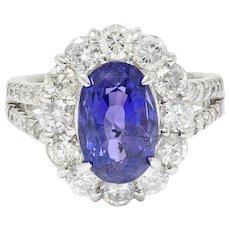 7.10 CTW No Heat Sapphire Diamond Platinum Cluster Ring AIGS
