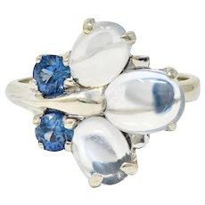 1940's Retro Sapphire Moonstone 14 Karat White Gold Floral Cluster Ring