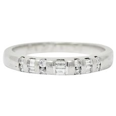 Vintage 0.35 CTW Diamond Platinum Bar Set Wedding Band Ring