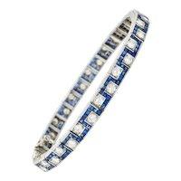 Oscar Heyman 8.45 CTW Sapphire Diamond Platinum Line Bracelet Circa 1950