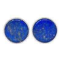 Nardi Lapis Diamond 18 Karat White Gold Circle Statement Earrings