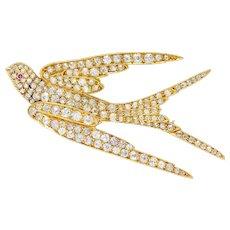 Late Victorian 6.45 CTW Diamond 18 Karat Gold Swallow Brooch