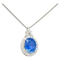 9.05 CTW No Heat Ceylon Sapphire Diamond Platinum Cluster Pendant Necklace GIA