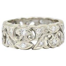 Art Deco 0.60 CTW Diamond 14 Karat White Gold Eternity Band Ring