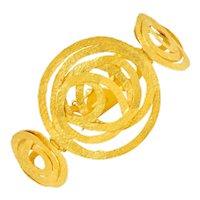 Italian 18 Karat Matte Gold Hammered Circle Bracelet