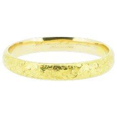 RIKER BROTHERS Floral Art Nouveau 14K Yellow Gold Bangle Bracelet
