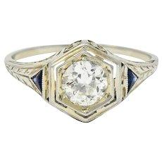 Art Deco 0.55 CTW Diamond Sapphire 18 Karat White Gold Hexagonal Ring