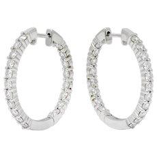 Contemporary 2.25 CTW Diamond 14 Karat White Gold Hoop Earrings