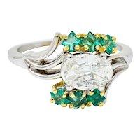 1950's Cartier 1.76 CTW Diamond Emerald 18 Karat Two-Tone Bypass Ring GIA