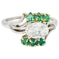 1950's Cartier 1.76 CTW Diamond Emerald 18 Karat Two-Tone Bypass Ring GIA