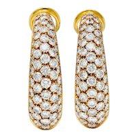 Vintage 7.45 CTW Pave Diamond 18 Karat Gold Hoop Earrings