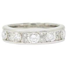 Contemporary 1.11 CTW Diamond Platinum Stacking Band Ring