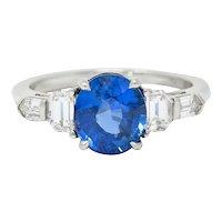 Raymond Yard 3.20 CTW No Heat Sapphire Diamond Platinum Ring GIA